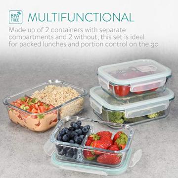 Navaris Glas Frischhaltedose Set mit Deckel - 4x Vorratsdosen in 2 Größen - auslaufsicher hitzebeständig kältebeständig - Glasbehälter Boxen - 3