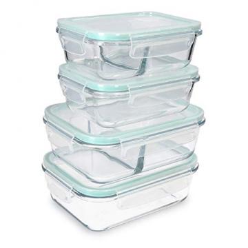 Navaris Glas Frischhaltedose Set mit Deckel - 4x Vorratsdosen in 2 Größen - auslaufsicher hitzebeständig kältebeständig - Glasbehälter Boxen - 1