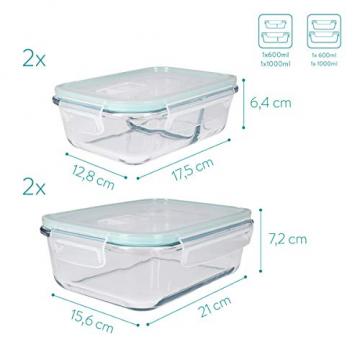 Navaris Glas Frischhaltedose Set mit Deckel - 4x Vorratsdosen in 2 Größen - auslaufsicher hitzebeständig kältebeständig - Glasbehälter Boxen - 5