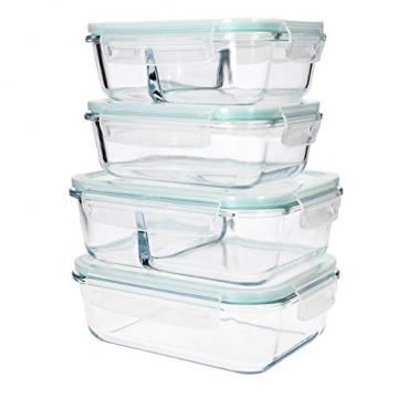 Navaris Glas Frischhaltedose Set mit Deckel - 4x Vorratsdosen in 2 Größen - auslaufsicher hitzebeständig kältebeständig - Glasbehälter Boxen - 6