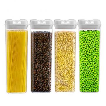 Numyton Stapelbare 4er-Set Frischhaltedosen mit Deckel BPA frei Vorratsdosen Lebensmitteldosen, Milchpulverdosen, Trockenfrüchte-Dosen luftdicht & wasserdicht, Weiß/Transparent - 1