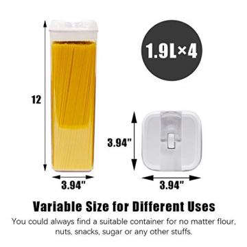 Numyton Stapelbare 4er-Set Frischhaltedosen mit Deckel BPA frei Vorratsdosen Lebensmitteldosen, Milchpulverdosen, Trockenfrüchte-Dosen luftdicht & wasserdicht, Weiß/Transparent - 6