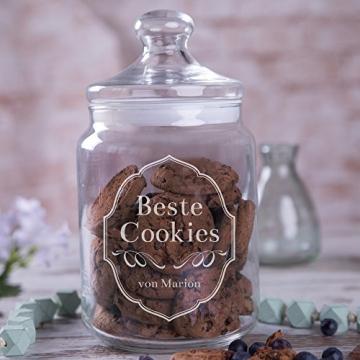 Personello® Graviertes Keksglas Beste Cookies, Keksdose aus Glas mit Wunsch-Namen personalisierbar (Motive und Größen wählbar), originelle Geschenkidee für Naschkatzen (groß = 25cm) - 3