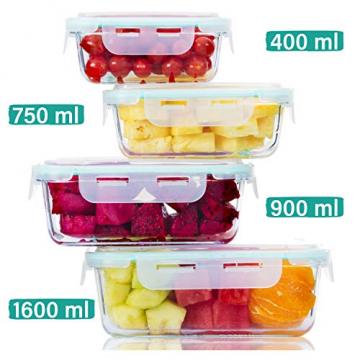 Praknu Frischhaltedosen mit Deckel 4er Set aus Glas - Luftdicht - Spülmaschinenfest - BPA frei - Borosilikatglas - 1