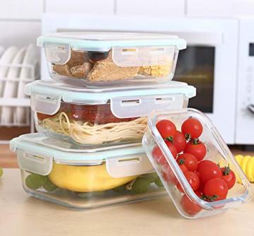 Praknu Frischhaltedosen mit Deckel 4er Set aus Glas - Luftdicht - Spülmaschinenfest - BPA frei - Borosilikatglas - 5