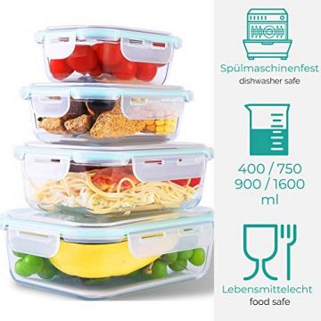 Praknu Frischhaltedosen mit Deckel 4er Set aus Glas - Luftdicht - Spülmaschinenfest - BPA frei - Borosilikatglas - 6