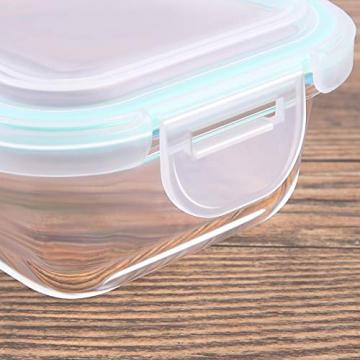 Praknu Frischhaltedosen mit Deckel 4er Set aus Glas - Luftdicht - Spülmaschinenfest - BPA frei - Borosilikatglas - 8