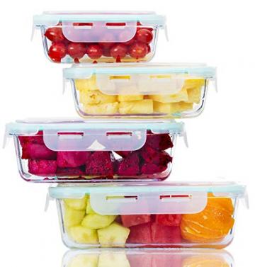 Praknu Frischhaltedosen mit Deckel 4er Set aus Glas - Luftdicht - Spülmaschinenfest - BPA frei - Borosilikatglas - 10