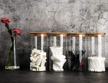 Praknu Vorratsdosen Glas mit Deckel 4er Set - Luftdicht - 8 Dichtungen - 1,2 L - Spülmaschinenfest - 4