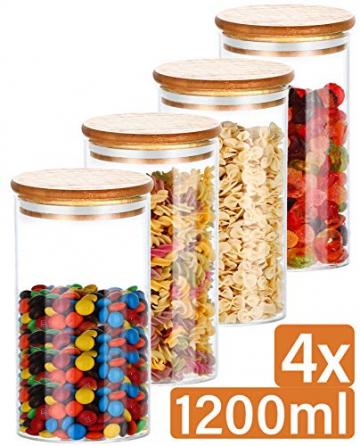 Praknu Vorratsdosen Glas mit Deckel 4er Set - Luftdicht - 8 Dichtungen - 1,2 L - Spülmaschinenfest - 1