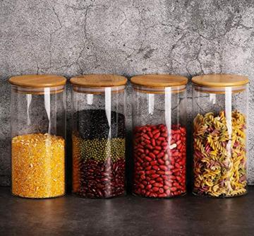 Praknu Vorratsdosen Glas mit Deckel 4er Set - Luftdicht - 8 Dichtungen - 1,2 L - Spülmaschinenfest - 9