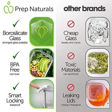 Prep Naturals Glas-Frischhaltedosen 5er-Set mit Deckel Dichte Essensbehälter 885 ml - Lunch-Box, Vorratsdosen, Aufbewahrungsdosen - Mikrowellen-, ofen- u. gefrierschrankgeeignet, spülmaschinenfest - 2