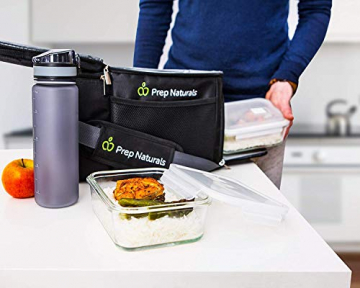 Prep Naturals Glas-Frischhaltedosen 5er-Set mit Deckel Dichte Essensbehälter 885 ml - Lunch-Box, Vorratsdosen, Aufbewahrungsdosen - Mikrowellen-, ofen- u. gefrierschrankgeeignet, spülmaschinenfest - 3