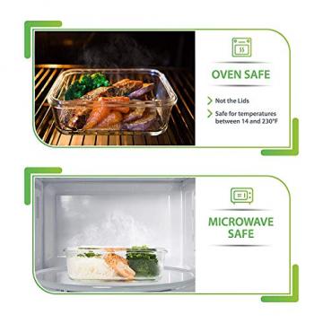 Prep Naturals Glas-Frischhaltedosen 5er-Set mit Deckel Dichte Essensbehälter 885 ml - Lunch-Box, Vorratsdosen, Aufbewahrungsdosen - Mikrowellen-, ofen- u. gefrierschrankgeeignet, spülmaschinenfest - 4