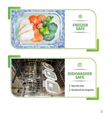 Prep Naturals Glas-Frischhaltedosen 5er-Set mit Deckel Dichte Essensbehälter 885 ml - Lunch-Box, Vorratsdosen, Aufbewahrungsdosen - Mikrowellen-, ofen- u. gefrierschrankgeeignet, spülmaschinenfest - 5