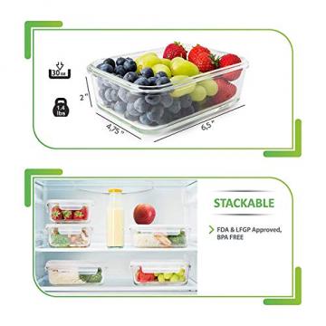 Prep Naturals Glas-Frischhaltedosen 5er-Set mit Deckel Dichte Essensbehälter 885 ml - Lunch-Box, Vorratsdosen, Aufbewahrungsdosen - Mikrowellen-, ofen- u. gefrierschrankgeeignet, spülmaschinenfest - 7