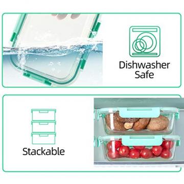 Rechteckig Vorratsbehälter mit Deckel [10 Teile] BPA-Frei, Clip & Close, Geeignet für Mikrowelle, Gefrierschrank und Spülmaschine - 3