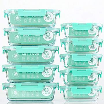 Rechteckig Vorratsbehälter mit Deckel [10 Teile] BPA-Frei, Clip & Close, Geeignet für Mikrowelle, Gefrierschrank und Spülmaschine - 1