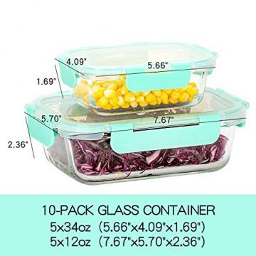 Rechteckig Vorratsbehälter mit Deckel [10 Teile] BPA-Frei, Clip & Close, Geeignet für Mikrowelle, Gefrierschrank und Spülmaschine - 5