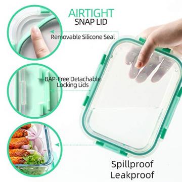 Rechteckig Vorratsbehälter mit Deckel [10 Teile] BPA-Frei, Clip & Close, Geeignet für Mikrowelle, Gefrierschrank und Spülmaschine - 7