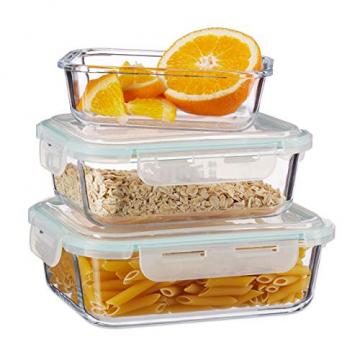 Relaxdays, klar Frischhaltedosen 3er Set Glas, Vorratsdosenset, BPA-Frei, hitzebeständig, Frischhaltebox, Clip-Deckel, Borosilikatglas, Plastik, Standard - 1