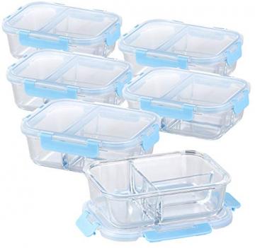 Rosenstein & Söhne Brotdose: 6er-Set Glas-Frischhaltedosen mit Klick-Deckeln & 3 Kammern, 1 l (Glas-Behälter) - 1
