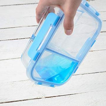 Rosenstein & Söhne Glasdosen: 3er-Set Glas-Frischhaltedosen mit Klick-Deckeln & 3 Kammern, 1 l (Vorratsdosen Glas) - 2