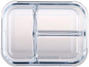 Rosenstein & Söhne Glasdosen: 3er-Set Glas-Frischhaltedosen mit Klick-Deckeln & 3 Kammern, 1 l (Vorratsdosen Glas) - 3
