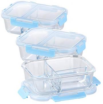 Rosenstein & Söhne Glasdosen: 3er-Set Glas-Frischhaltedosen mit Klick-Deckeln & 3 Kammern, 1 l (Vorratsdosen Glas) - 1