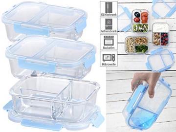 Rosenstein & Söhne Glasdosen: 3er-Set Glas-Frischhaltedosen mit Klick-Deckeln & 3 Kammern, 1 l (Vorratsdosen Glas) - 5