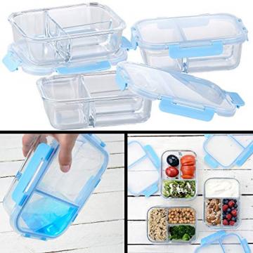 Rosenstein & Söhne Glasdosen: 3er-Set Glas-Frischhaltedosen mit Klick-Deckeln & 3 Kammern, 1 l (Vorratsdosen Glas) - 6