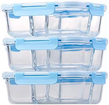Rosenstein & Söhne Glasdosen: 3er-Set Glas-Frischhaltedosen mit Klick-Deckeln & 3 Kammern, 1 l (Vorratsdosen Glas) - 7