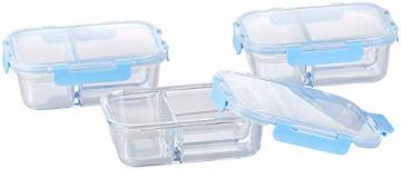 Rosenstein & Söhne Glasdosen: 3er-Set Glas-Frischhaltedosen mit Klick-Deckeln & 3 Kammern, 1 l (Vorratsdosen Glas) - 9