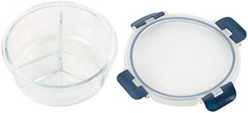 Rosenstein & Söhne Lunchbox: Glas-Frischhaltedose mit 3 Kammern, Klick-Deckel, -20 bis 520 °C, rund (Mikrowellengeschirr Glas) - 2