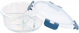 Rosenstein & Söhne Lunchbox: Glas-Frischhaltedose mit 3 Kammern, Klick-Deckel, -20 bis 520 °C, rund (Mikrowellengeschirr Glas) - 1
