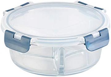 Rosenstein & Söhne Lunchbox: Glas-Frischhaltedose mit 3 Kammern, Klick-Deckel, -20 bis 520 °C, rund (Mikrowellengeschirr Glas) - 3