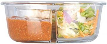 Rosenstein & Söhne Lunchbox: Glas-Frischhaltedose mit 3 Kammern, Klick-Deckel, -20 bis 520 °C, rund (Mikrowellengeschirr Glas) - 4
