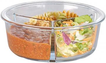 Rosenstein & Söhne Lunchbox: Glas-Frischhaltedose mit 3 Kammern, Klick-Deckel, -20 bis 520 °C, rund (Mikrowellengeschirr Glas) - 5