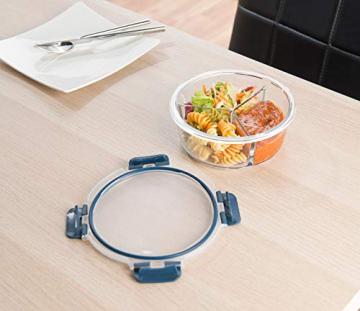 Rosenstein & Söhne Lunchbox: Glas-Frischhaltedose mit 3 Kammern, Klick-Deckel, -20 bis 520 °C, rund (Mikrowellengeschirr Glas) - 8