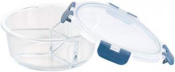 Rosenstein & Söhne Vorratsdosen Glas: 3er-Set Glas-Frischhaltedosen, 3 Kammern, Klick-Deckel, -20 bis 520°C (Glas-Dose) - 3