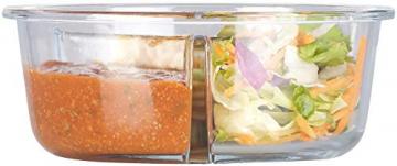 Rosenstein & Söhne Vorratsdosen Glas: 3er-Set Glas-Frischhaltedosen, 3 Kammern, Klick-Deckel, -20 bis 520°C (Glas-Dose) - 9
