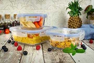 Sendez 10tlg. Frischhaltedosen Größe: 2x1L 2x800ml 1x500ml Glasbehälter Glas Lunchbox Vorratsdosen Brotdose luftdicht BPA-frei mit 4-fach-Klick-Verschluss Silikon-Dichtungsring - 2
