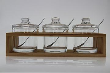 Sendez 3 Gewürzgläser mit Holzgestell und Löffeln Gewürzdosen Parmesandosen Marmeladendosen Set Honigdose Dose Zuckerdose Salzdose Vorratsdose 27x13x12cm 10-TLG - 3