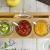 Sendez 3 Gewürzgläser mit Holzgestell und Löffeln Gewürzdosen Parmesandosen Marmeladendosen Set Honigdose Dose Zuckerdose Salzdose Vorratsdose 27x13x12cm 10-TLG - 6