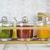 Sendez 3 Gewürzgläser mit Holzgestell und Löffeln Gewürzdosen Parmesandosen Marmeladendosen Set Honigdose Dose Zuckerdose Salzdose Vorratsdose 27x13x12cm 10-TLG - 7