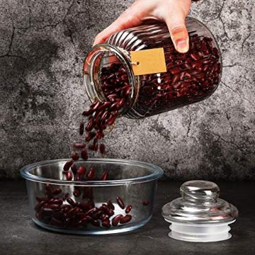STAR - LINE 4 Vorratsdosen Set Glas 1,2L Groß - Luftdicht mit Dichtung - Vorratsglas Vorratsbehälter für Lebensmittel - 4