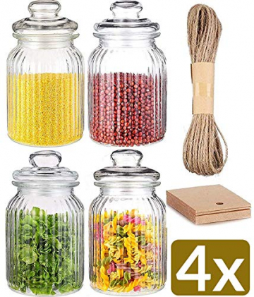 STAR - LINE 4 Vorratsdosen Set Glas 1,2L Groß - Luftdicht mit Dichtung - Vorratsglas Vorratsbehälter für Lebensmittel - 1