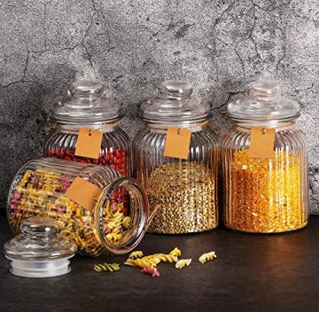 STAR - LINE 4 Vorratsdosen Set Glas 1,2L Groß - Luftdicht mit Dichtung - Vorratsglas Vorratsbehälter für Lebensmittel - 5