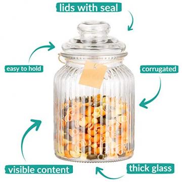 STAR - LINE 4 Vorratsdosen Set Glas 1,2L Groß - Luftdicht mit Dichtung - Vorratsglas Vorratsbehälter für Lebensmittel - 6