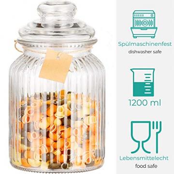 STAR - LINE 4 Vorratsdosen Set Glas 1,2L Groß - Luftdicht mit Dichtung - Vorratsglas Vorratsbehälter für Lebensmittel - 7